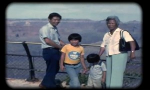 The Gee road trip to the Grand Canyon. Film still courtesy of the Gee family home movie collection.