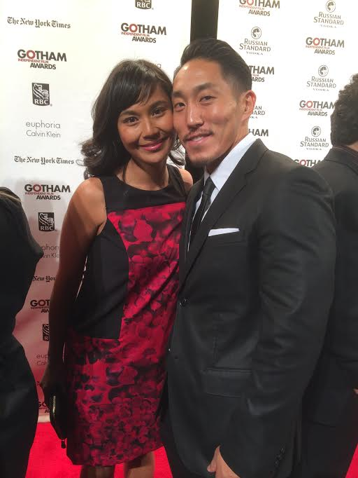 Documentary filmmaker Tadashi Nakamura with fiance Cindy Sangalang at the Gotham Independent Film Awards, where Nakamura took home the Audience Award in November, 2013. Photo courtesy of Tadashi Nakamura.