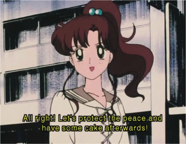 Sailor Jupiter promotes peace—and pastries.
