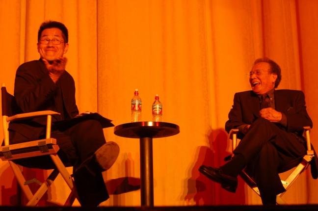 James Shigeta on stage with Arthur Dong at the San Francisco International Asian American Film Festival in 2006.