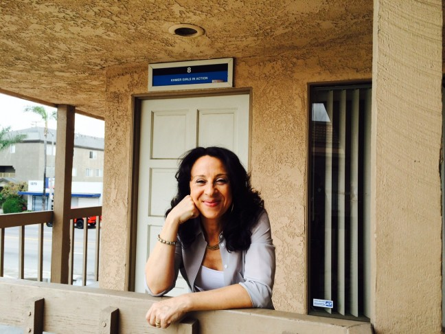 """Maria Hinojosa, host and producer of """"America By The Numbers"""" on a production shoot in Long Beach, CA. The series airs on PBS and World Channel in October."""