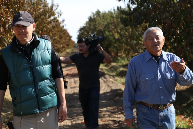 On the Masumoto farm with Jim (center) and Mas (right).