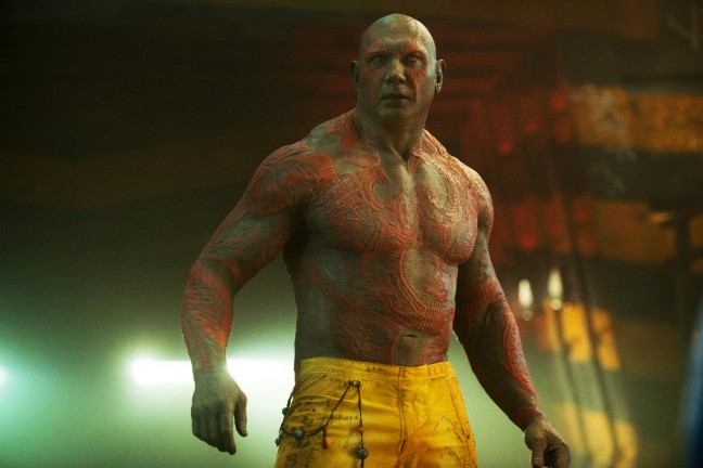 "Dave Bautista as Drax the Destroyer in ""Guardians of the Galaxy."" (Photo credit: Marvel Studios)"
