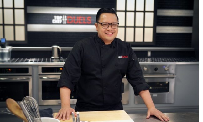 "Dale Talde on the set of ""Top Chef Duels."""