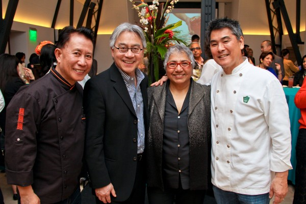 Chef Martin Yan, CAAM Executive Director Stephen Gong, CAAM Board Chair Dipti Ghosh and Chef Roy Yamaguchi at CAAMFeast 2014. Photo by Michael Jeong.