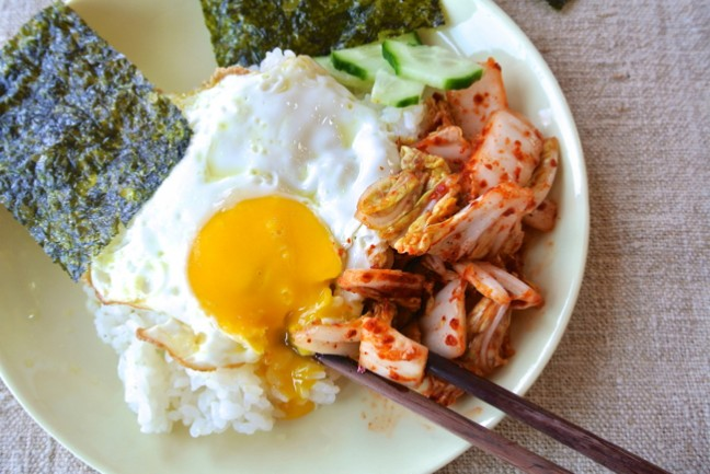 Fresh kimchi with egg, rice and seaweed. Photo courtesy of Kim Sunee.