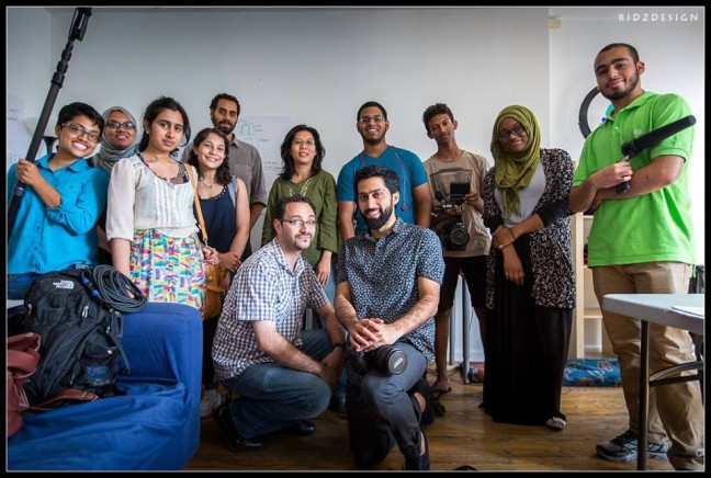Workshop participants and teachers for Muslim Youth Voices Project come together for a group photo in NY in August 2014. Photo by Ridwan Adhami.