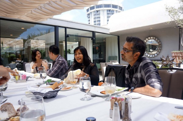 Fellow Michelle Krusiec, alum Harry Yoon, CAAM Public Media Director Sapana Sakya and Fellow Soham Mehta during lunch at the LA Fellowship Retreat.