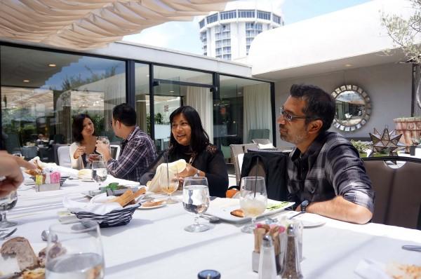 Fellow Michelle Krusiec, alum Harry Yoon, CAAM Public Media Director Sapana Sakya and Fellow Soham Mehta during lunch at the LA Fellowship Retreat.