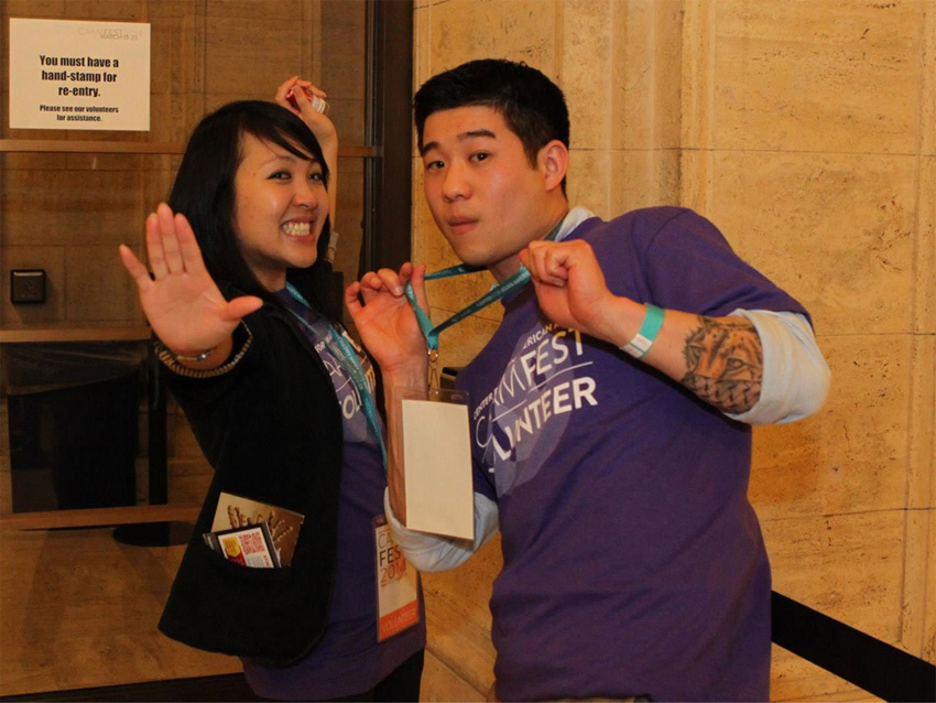 Volunteers Christine Hoang and Mitchell Tong at CAAMFest 2014. Image by Leanne Koh.