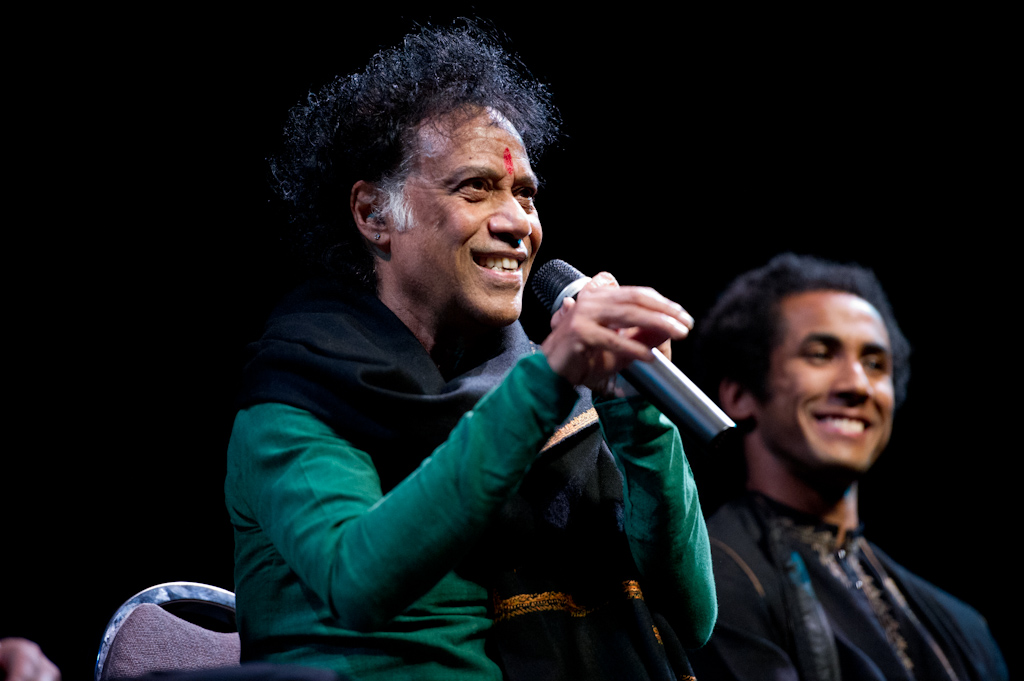 "Kathak teacher Chitresh Das speaks during a panel about ""UPAJ: Improvise"" at SFIAAFF 2011.  Photo by Matthew Lin."