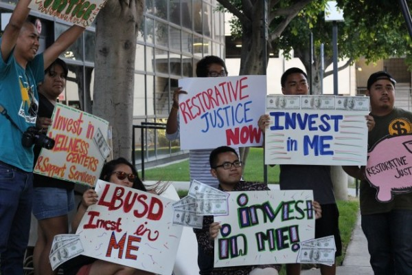 Youth and youth advocates outside a Long Beach Unified School Board meeting.