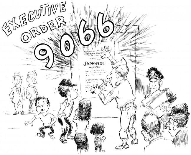 "A cartoon from Jack Matsuoka's ""Poston Camp II, Block 211."""