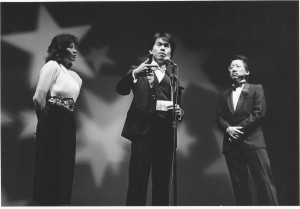 Forbidden City, USA premiere, November 15, 1989, Palace of Fine Arts. MC's Emeral Yeh and Ben Fong Torres with filmmaker Arthur Dong (center). Photo by Bob Hsiang.