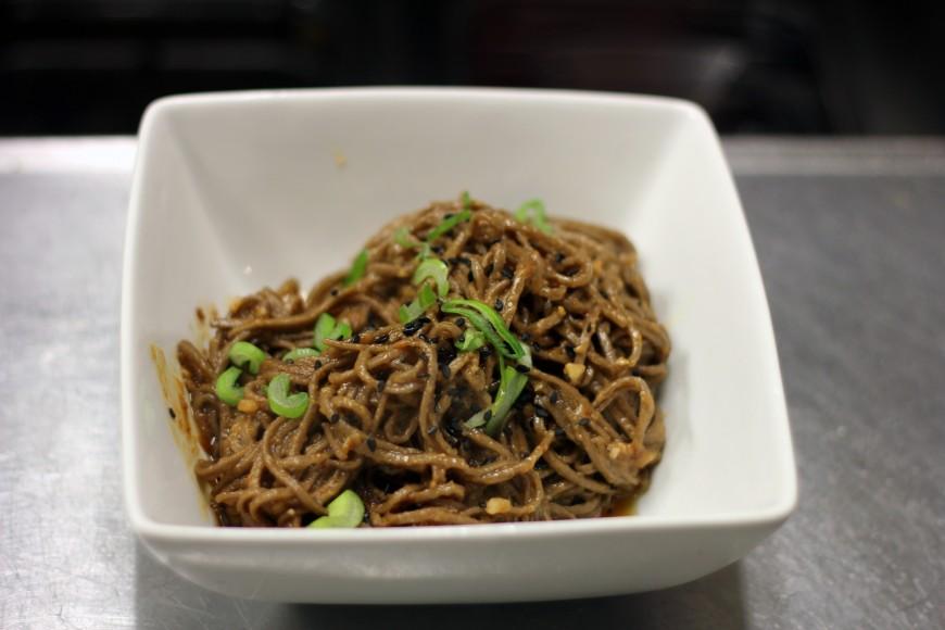 Sesame sauce noodles with black sesame seeds