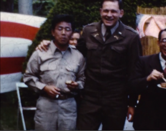 Jack Matsuoka in the Military Intelligence Service in post WWII Japan. Still from Matsuoka's home movies.