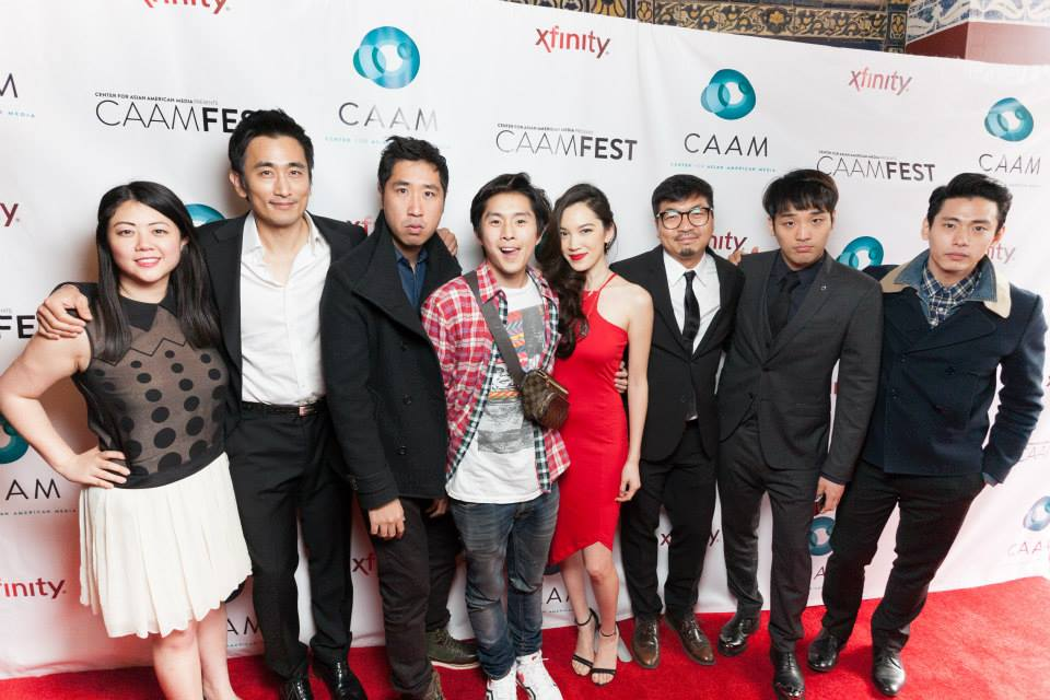 From Left: Andrea Chung , In-Pyo Cha, Esteban Ahn, Justin Chon, Jessika Van, Benson Lee, Heejun Han, and Teo Yoo at CAAMFest 2015 Opening Night Film, Seoul Searching.
