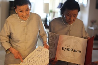 Cecilia Chiang, 95, holds the original menu of the Mandarin Restaurant, which she opened in 1961 in San Francisco. Photos by Momo Chang.
