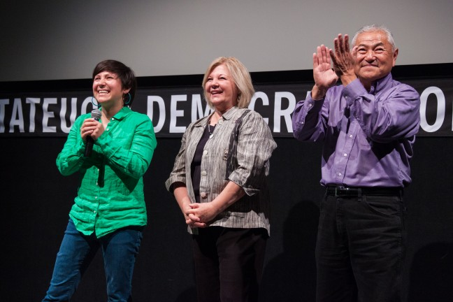"Nikiko, Marcy and David ""Mas"" Masumoto at the LA Asian Pacific Film Festival. Photo by Lucy Truong."