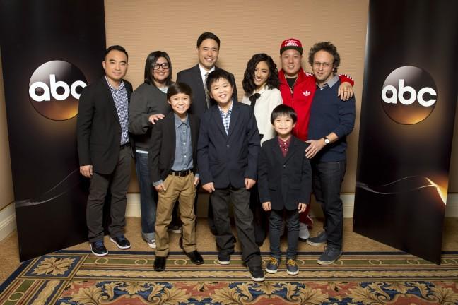 "The cast and executive producers of ""Fresh Off the Boat"" at Disney | ABC Television Group's Winter Press Tour 2015. (ABC/Image Group LA). MELVIN MAR, NAHNATCHKA KHAN, FORREST WHEELER, RANDALL PARK, HUDSON YANG, CONSTANCE WU, IAN CHEN, EDDIE HUANG, JAKE KASDAN"