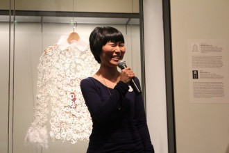 Los Angeles-based artist Ahree Lee talks about her newest video installations inspired by Korean bojagi, or wrapping cloths, including footage from CAAM's Memories to Light: Asian American home movies collection. Photo by Diana Li.