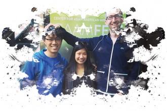 LOVE ARCADIA Writer/Producer Theresa Chiu with Director Lawrence Gan and Producer Dave Grabarek
