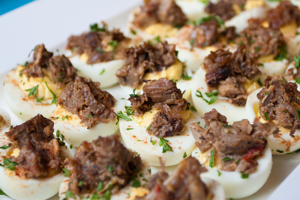 Sisig Deviled Eggs at Opening Night Party, courtesy of Attic Restaurant