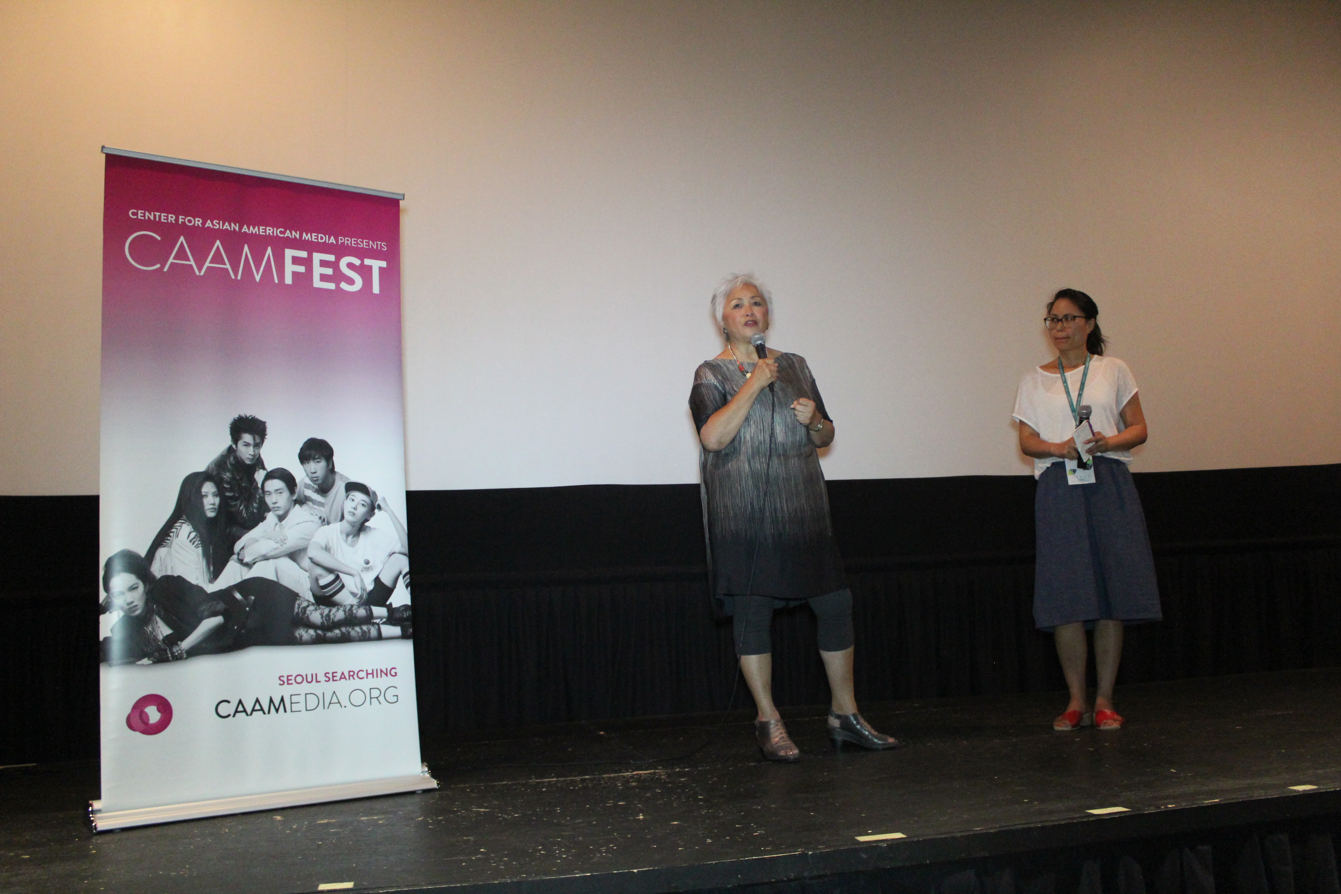 CHINESE COUPLETS Director Felicia Lowe introduces her film with CAAM Development & Communications Director Debbie Ng