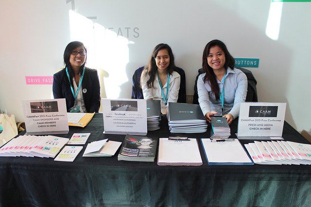 CAAM Interns Michelle Fajardo, Lauren Lola and Phallina Kuch at the CAAMFest 2015 Press Conference on February 12, 2015.