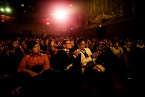 """The crowd at CAAMFest 2015 Opening Night, Benson Lee's """"Seoul Searching,"""" March 2015. Photo by Jason Jao."""