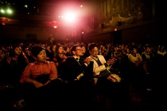"The crowd at CAAMFest 2015 Opening Night, Benson Lee's ""Seoul Searching,"" March 2015. Photo by Jason Jao."