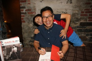 """""""Forbidden City, USA"""" book signing at MoCA (Museum of Chinese in America, NYC), with son Reed Dong-Gee.  Photo by Lia Chang."""