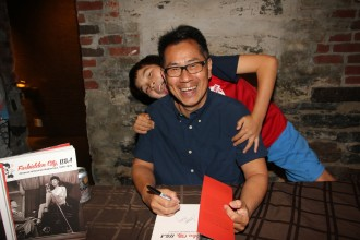"""Forbidden City, USA"" book signing at MoCA (Museum of Chinese in America, NYC), with son Reed Dong-Gee.  Photo by Lia Chang."