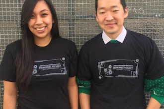Jill Kizer and Masashi Niwano donning our sleek, new Memories to Light: Asian American Home Movies t-shirt. Get yours today by donating $35 or more to our online campaign -- this week only! http://caamedia.org/onestory