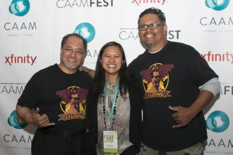 From left to right: Ron Muriera, Marissa Aroy and guest at the CAAMFest 2014 Closing Night Party.
