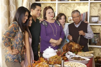 """Crazy Ex-Girlfriend's """"My First Thanksgiving With Josh!"""" episode. L-R: Tess Paras as Jayma, Coryn Mabalot as Jastenity, Vincent Rodriguez III as Josh, Amy Hill as Lourdes, Rachel Bloom as Rebecca and Alberto Isaac as Joseph. Photo credit: Tyler Golden/The CW."""