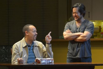 """(L to R): Tyrone Mitchell Henderson (Lucien) and Tim Kang (Ray) in Julia Cho's """"Aubergine"""" at Berkeley Rep. Photo courtesy of kevinberne.com"""