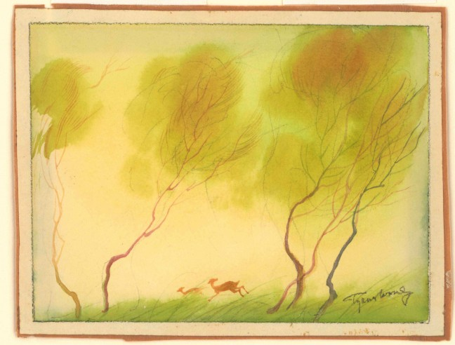 """Bambi in the spring. Concept art for Disney's """"Bambi"""" by Tyrus Wong."""