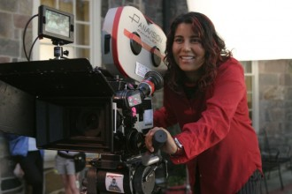 Nisha Ganatra on set. Photo courtesy of Nisha Ganatra.