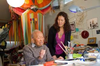 Tyrus Wong with documentary filmmaker Pamela Tom in 2012. Photo by Ildiko Laszlo.