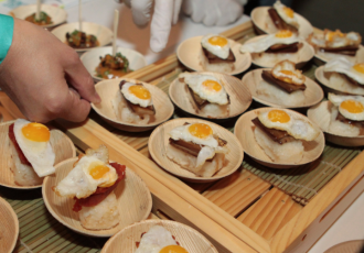 "Breakfast at Tiffany's quail egg silog ""sushi."""