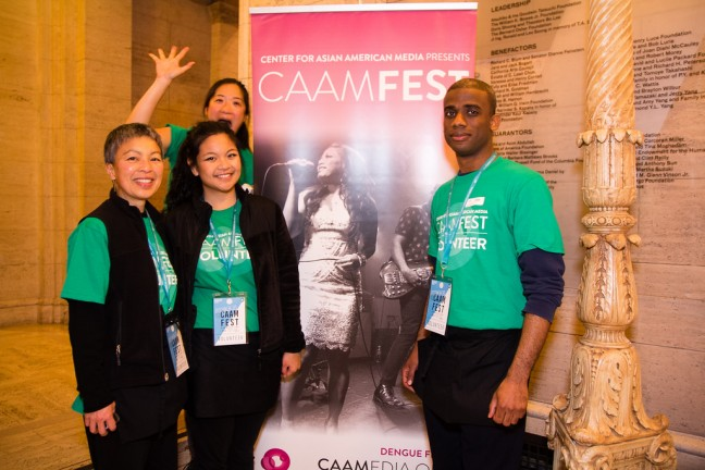Our volunteers are awesome! Here they are at CAAMFest 2015 sporting their volunteer t-shirt. Volunteer time and earn tickets to screenings! Photo by Coy Tran.