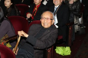 "Tyrus Wong, 105, at the Bay Area premiere of ""TYRUS,"" directed by Pamela Tom. CAAMFest 2016 Opening Night, March 10, 2016 at the Castro Theater. Photo by Leanne Koh."