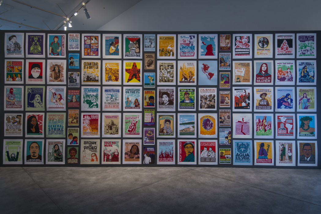 Dignidad Rebelde, Selected works, 2007-15. Installation view of Take This Hammer: Art + Media Activism from the Bay Area, Yerba Buena Center for the Arts, 2016. Courtesy Yerba Buena Center for the Arts. Photo by Charlie Villyard.