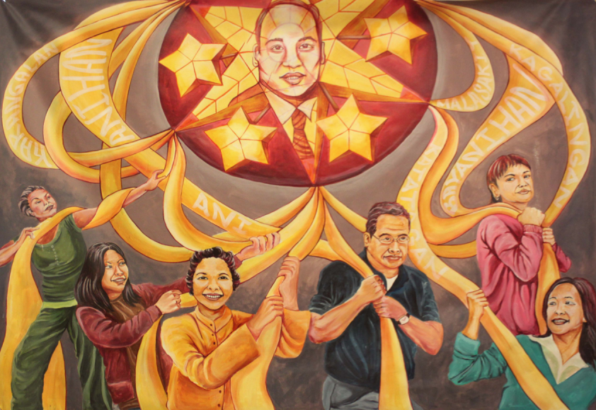 A mural at the Bayanihan Community Center in San Francisco. Art by Cece Carpio Cece Carpio, commissioned by KulArts.