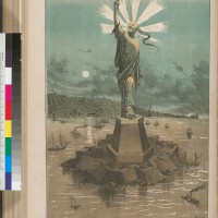 """A Statue for Our Harbor"" from The Wasp.  The image captures themes of: class-based economic competition, racial and health menace, conquest, and gender ambiguity explicit in the Chinese exclusion movement. Suggests that while NY's statue represented the promise of European immigration, CA's statue symbolized how Chinese immigration would overrun the West and destroy the nation."