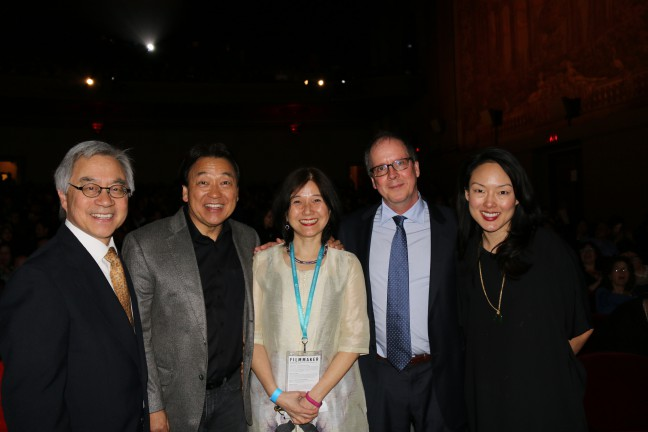 """From left to right: Stephen Gong, Robert Handa, Li-Shin Yu, Ric Burns and San Francisco Supervisor Jane Kim at the CAAMFest 2017 Closing Night presentation of """"THE CHINESE EXCLUSION ACT"""" documentary."""