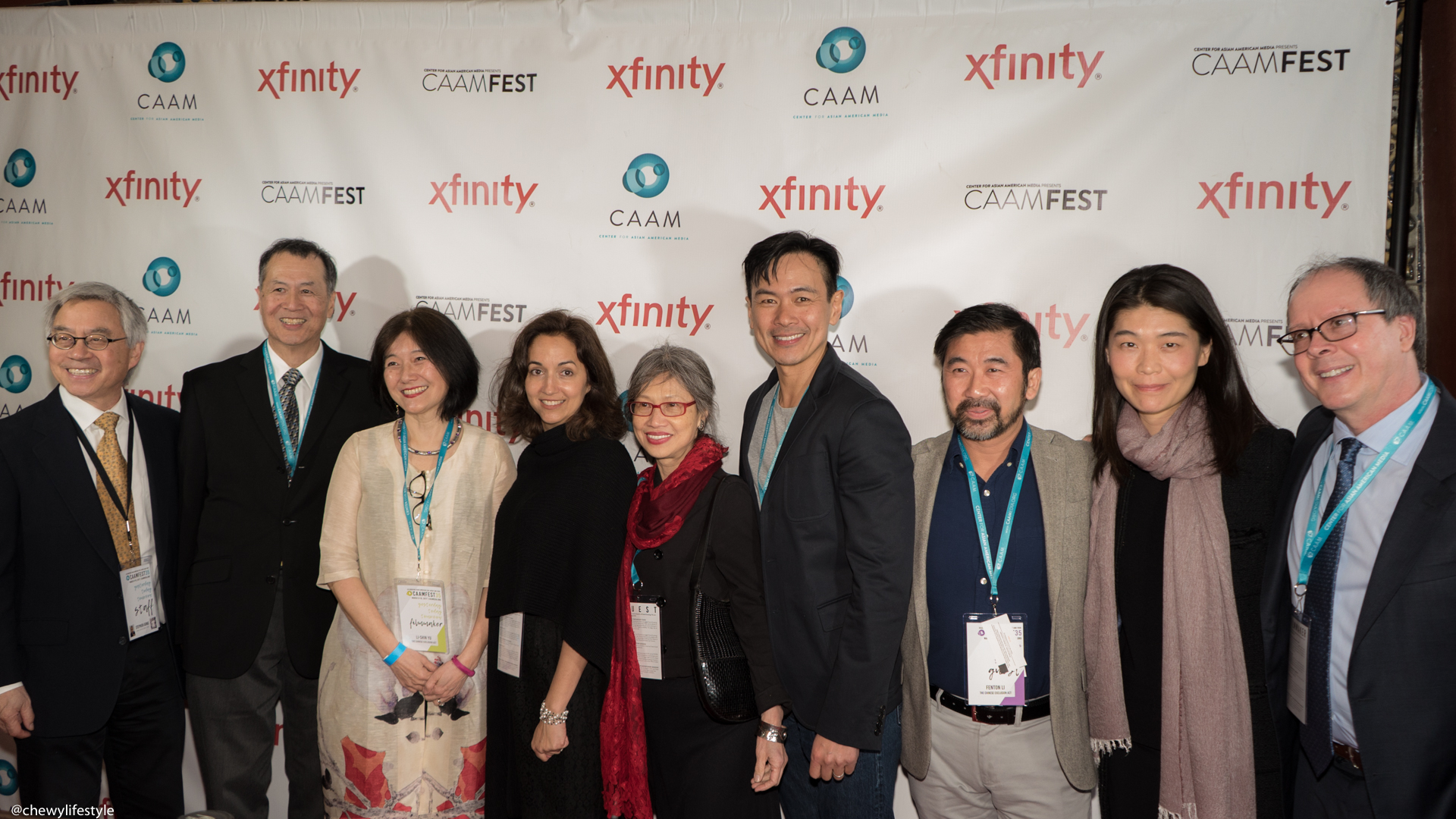 """CAAM's Executive Director Stephen Gong and the cast and crew of """"THE CHINESE EXCLUSION ACT"""" documentary on the red carpet at the Castro Theatre on March 19, 2017."""