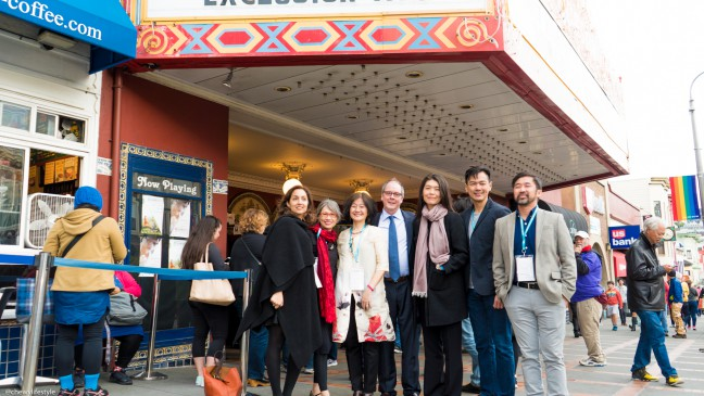 """""""THE CHINESE EXCLUSION ACT"""" documentary cast and crew in front of the Castro Theatre on Sunday, March 19, 2017."""