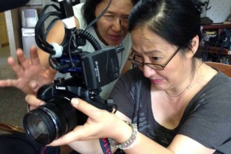 """""""Wisdom Gone Wild"""" Director of Photography Ann Kaneko with Director Rea Tajiri. """"Wisdom Gone Wild"""" is one of the recipients of the Spring 2016 CAAM Documentary Fund Awards. Photo courtesy of Rea Tajiri."""